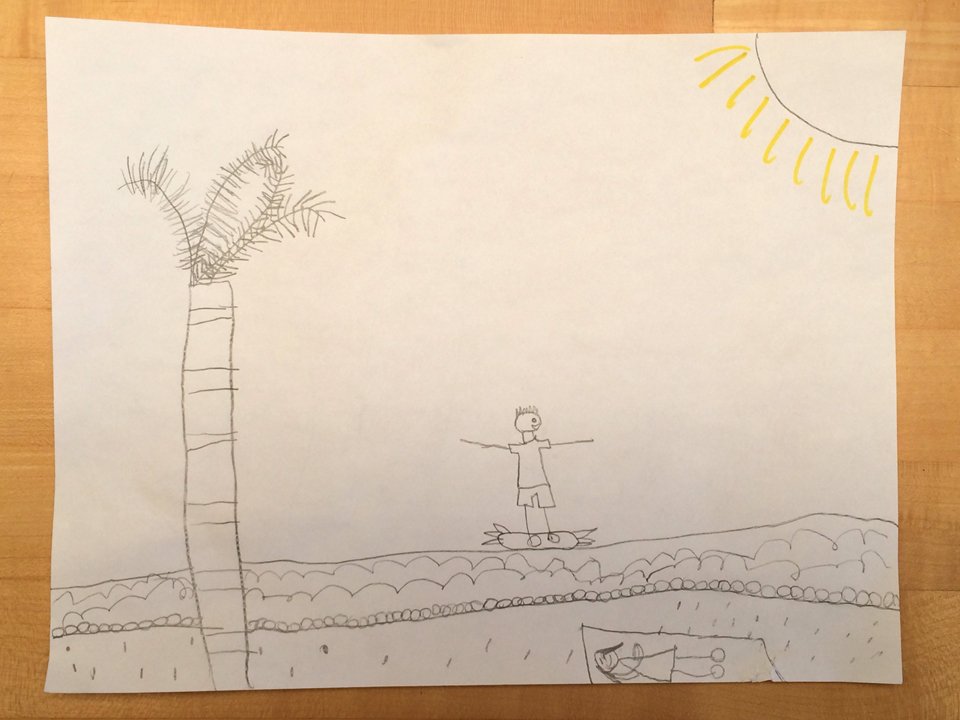 childrens drawing of a tree and guy surfing at beach by dottie1