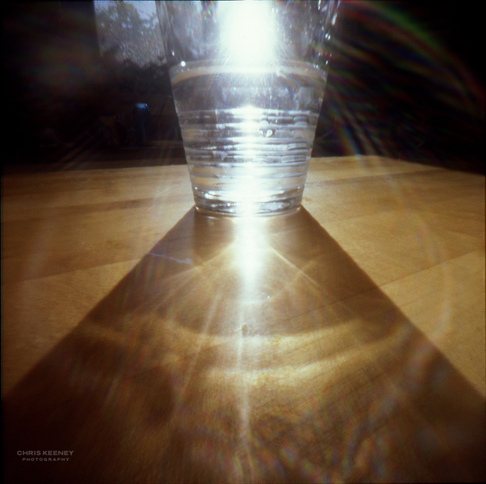 PinHolga pinhole photograph of a crystal glass with sunlight shining through it